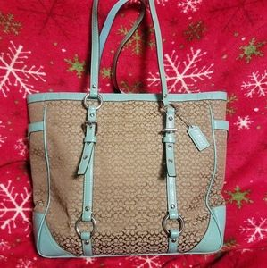 Coach Signature Jacquard & Powder Blue Tote